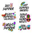 hand drawn cartoon summer lettering set vector image