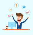 investor character businessman working on desktop vector image