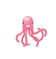 isolated pink octopus smiling good humor vector image