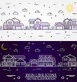 Neighborhood with homes white and purple vector image