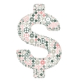 US dollar sign made of colored gears vector image