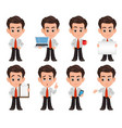 business man cartoon character set of eight cute vector image