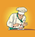 the chef prepares a sweet dessert vector image