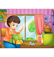 A mother sewing clothes vector image vector image