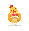 funny cartoon chick bird standing and holding vector image