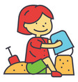 kid making sand castle at seacoast beach concept vector image