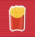 sticker of french fries in paper box on red vector image
