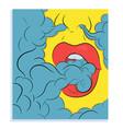 smooking lips pop art style vector image