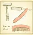 Sketch barber set in vintage style vector image