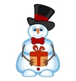 Snowman carrying a gift and wearing a hat and a bo vector image