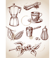 set of vintage coffee and cocoa icons vector image vector image