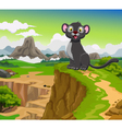 funny black panther cartoon with beauty mountain vector image