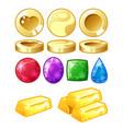 golden coins bars brilliants vector image