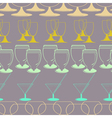 seamless background with glasses dishes vector image