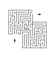 simple labyrinth of black lines with two arrows vector image