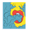 smooking lips pop art style vector image