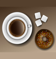 Coffee and donut from above vector image vector image