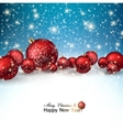 Beautiful Christmas red balls on snow Red Xmas vector image