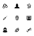 crime 9 icons set vector image