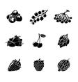 Set of monochrome BERRIES icons - cherry vector image