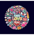 With love sticker clip mart in circle vector image