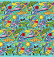 doodle summer beach seamless pattern vector image