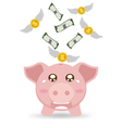 Piggy Bank Cry When See Money Flying Away vector image