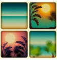 Retro tropical cards with seaside and palm trees vector image