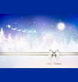 santa claus in a sleigh sweeps over the winter vector image