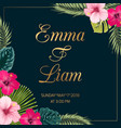 tropical wedding invitation hibiscus exotic leaves vector image