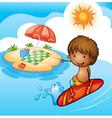a surfing boy vector image vector image
