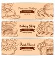 Bakery shop bread sketch banners set vector image vector image
