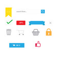 shopping icons with isolated and website symbols vector image