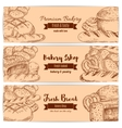Bakery shop bread sketch banners set vector image