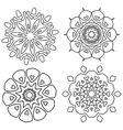 Black and white abstract lace flowers vector image