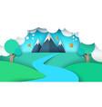 cartoon paper landscape mountain vector image