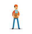 Delivery man standing and holding boxes courier vector image