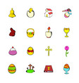 Easter set icons set cartoon vector image