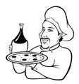 Italian chef outline vector image