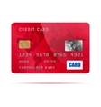Red credit card icon realistic style vector image
