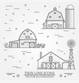 set of thin line american farm icon vector image