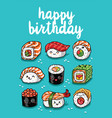 sushi emoji greeting card with text happy birthday vector image