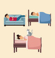 colorful set scene people sleep in bed and sofa vector image