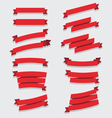 Red ribbons collection vector image vector image