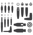 Various Audio Connectors Silhouettes vector image vector image