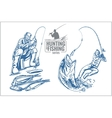 Hunting and fishing vintage emblem vector image