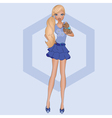 A blond girl with puppy vector image