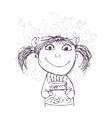 Funny girl sketch with birthday cake for your vector image