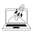 laptop computer with rocket launcher vector image
