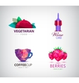 set of food and drink logos icons vector image